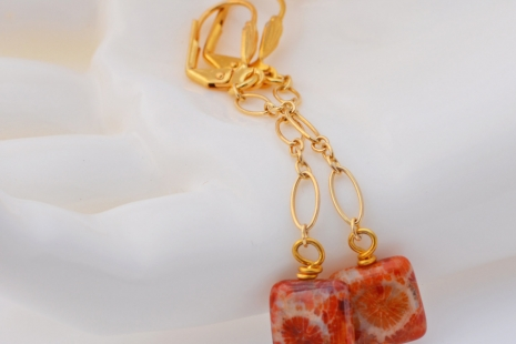Coral Agate Earrings, copyright Honey from the Bee