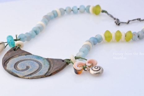 Nautilus Spiral Necklace, copyright Honey from the Bee