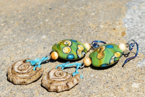 Beach Inspired Earrings, copyright Honey from the Bee