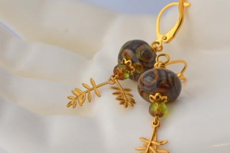 Golden Brown Earrings, copyright Honey from the Bee