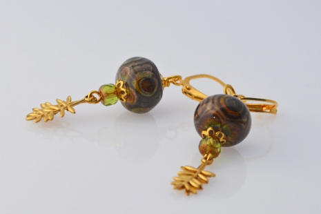 Brown Lampwork Earrings, copyright Honey from the Bee
