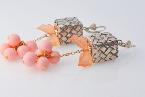 Pink Small Package Earrings, copyright Honey from the Bee