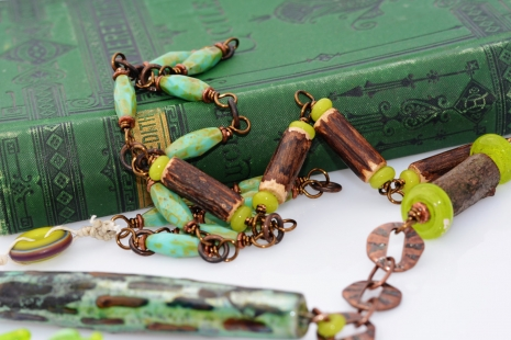 One of a Kind Mixed Media Necklace, copyright Honey from the Bee