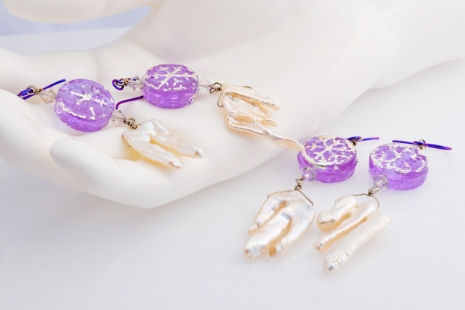 Lavender and White Winter Earrings, copyright Honey from the Bee