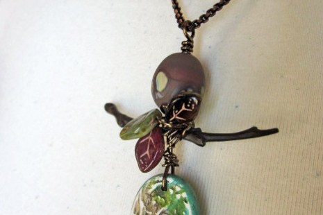 Asian inspired Spring Pendant, copyright Honey from the Bee