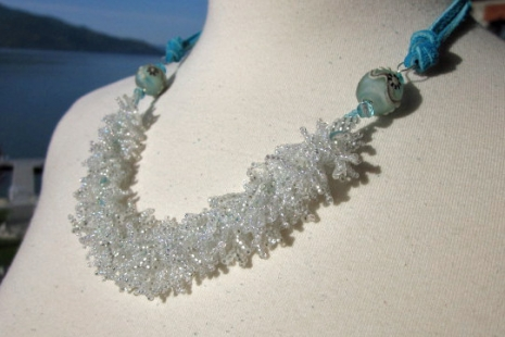 Summer Necklace in blue and white, copyright Honey from the Bee