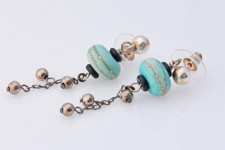 Silver and Aqua Earrings, copyright Honey from the Bee