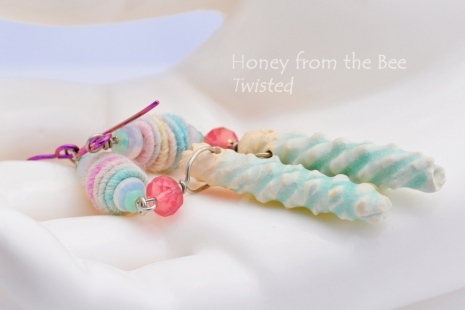 Pink, Aqua and White Artisan Earrings, copyright Honey from the Bee
