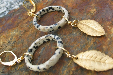 Dalmatian Stone Artisan Earrings, copyright Honey from the Bee