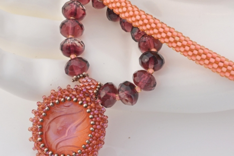 Peach and Purple Artisan Necklace, copyright Honey from the Bee