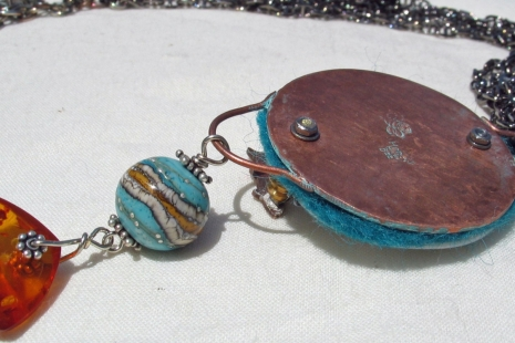 Ocean inspired necklace reverse, copyright Honey from the Bee