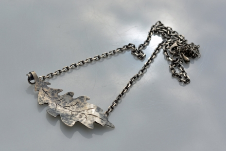 Sterling Silver Oak Leaf necklace, copyright Honey from the Bee