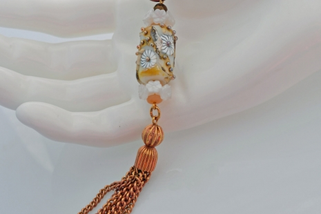 Artisan Glass tassel pendant, copyright Honey from the Bee