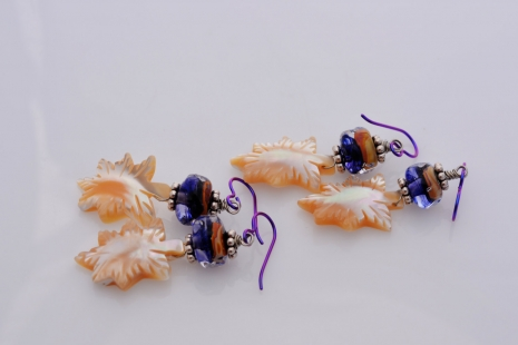 Berry and Cream Lampwork earrings, copyright Honey from the Bee