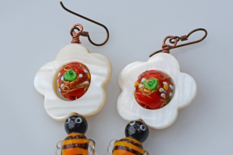 Mother of Pearl, Lampwork Garden earrings, copyright Honey from the Bee
