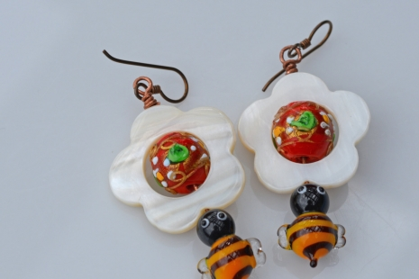 Garden Earrings with bees, copyright Honey from the Bee