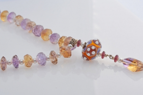 Ametrine and Pearl Necklace, copyright Honey from the Bee