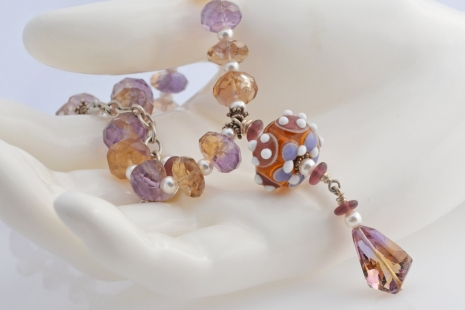 Citrine and Amethyst Necklace with lampwork by Vicki Lee ,copyright Honey from