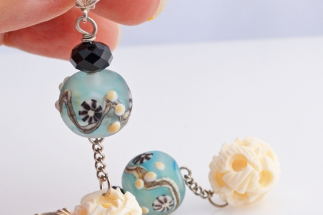 Light blue and ivory dangle earrings, copyright  Honey from the Bee