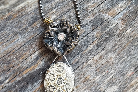 Bronze and silver necklace