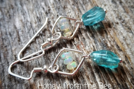 Apatite and Opal earrings
