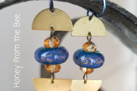 Blue and gold lampwork earrings