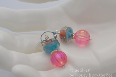 Pink lucite and sky blue earrings