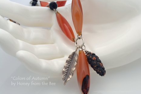Orange and Black Autumn necklace