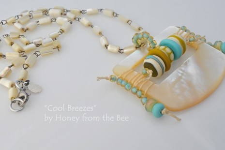 Aqua and Mother-of-pearl necklace