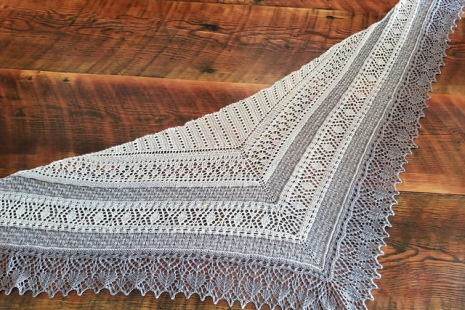 Grey and cream lace shawl