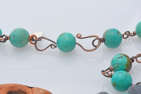 S-clasp on turquoise rosary chain
