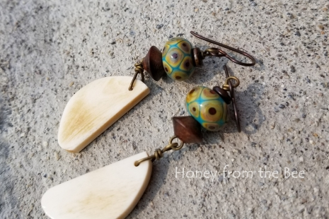 Cream and Teal earrings
