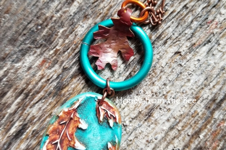 Teal and Copper Leaf necklace