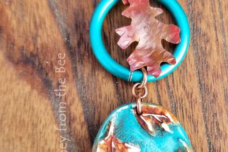 Teal and orange necklace