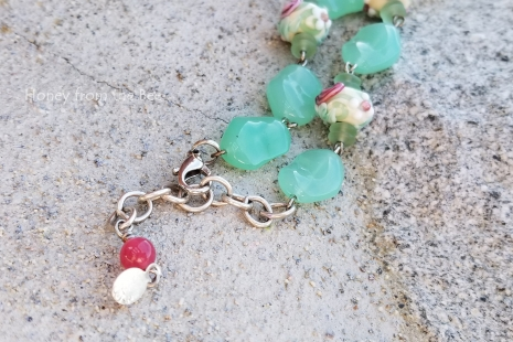 Rose and soft green bracelet