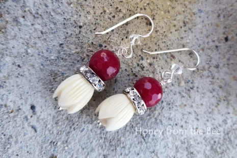 Ruby quartz earrings