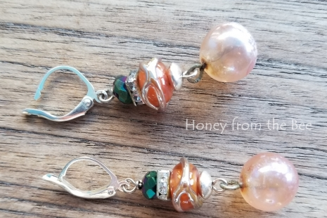 pink and green earrings