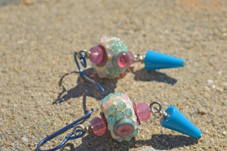 Pink and Baby Blue earrings