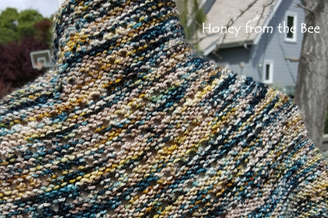 Teal and beige shawl