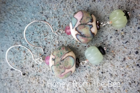 Pale green and pink earrings