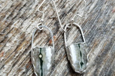 Green and silver artisan earrings