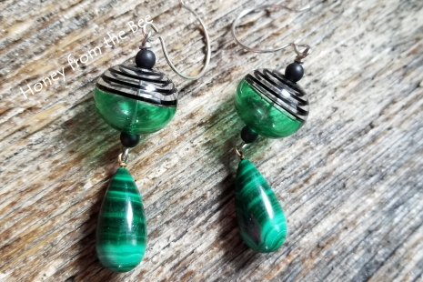 Green artisan earrings