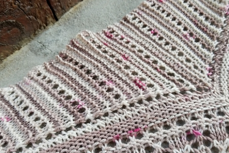 Mauve and cream shawl