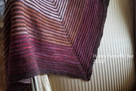 Shawl with burgundy, pink and tan shades