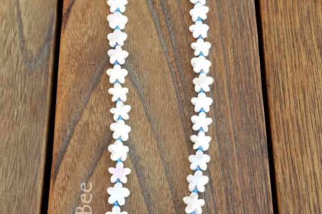Coral and blue summer necklace