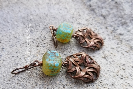 Teal and Copper earrings