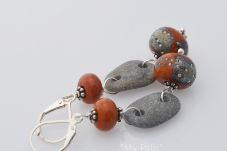 Terra Cotta Lampwork and Beach Stone Earrings