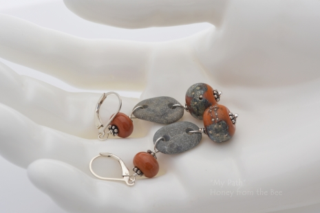 River Stone and Canyon Echoes lampwork earrings