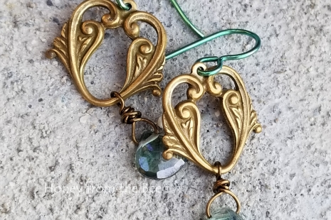 Brass and Green earrings