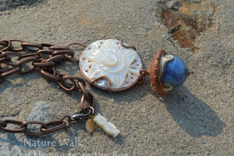 Mother of Pearl Leaf and Acorn necklace